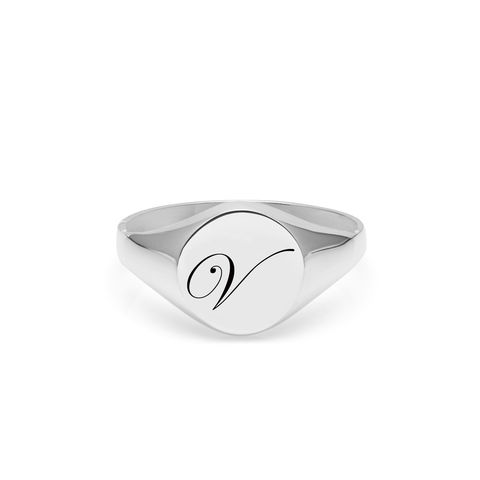 EDWARDIAN,INITIAL,V,SIGNET,RING,-,SILVER