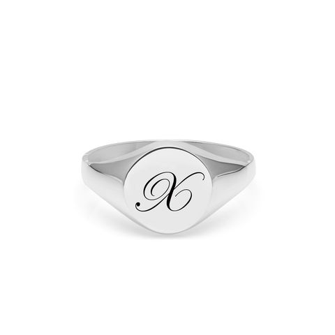 EDWARDIAN,INITIAL,X,SIGNET,RING,-,SILVER
