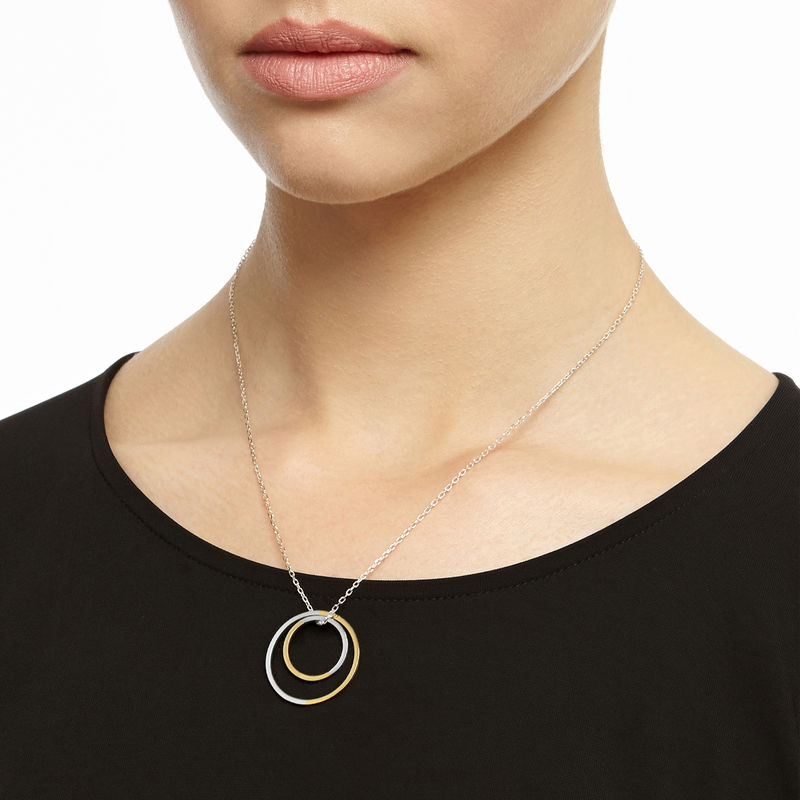 TWO-TONE DOUBLE CIRCLE NECKLACE - YELLOW GOLD - product image