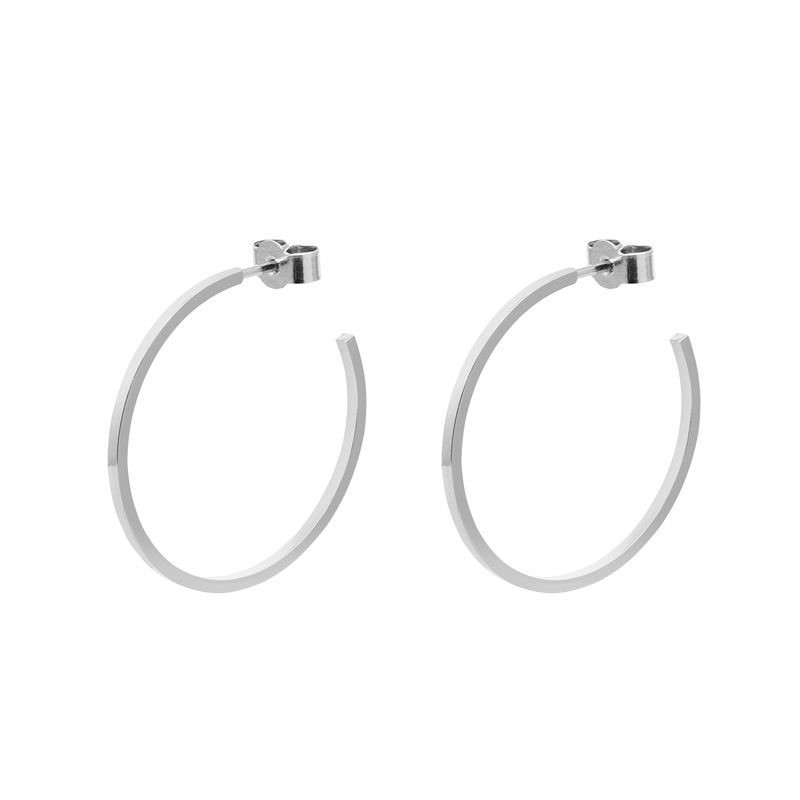 LARGE HOOP EARRINGS - SILVER - product images  of
