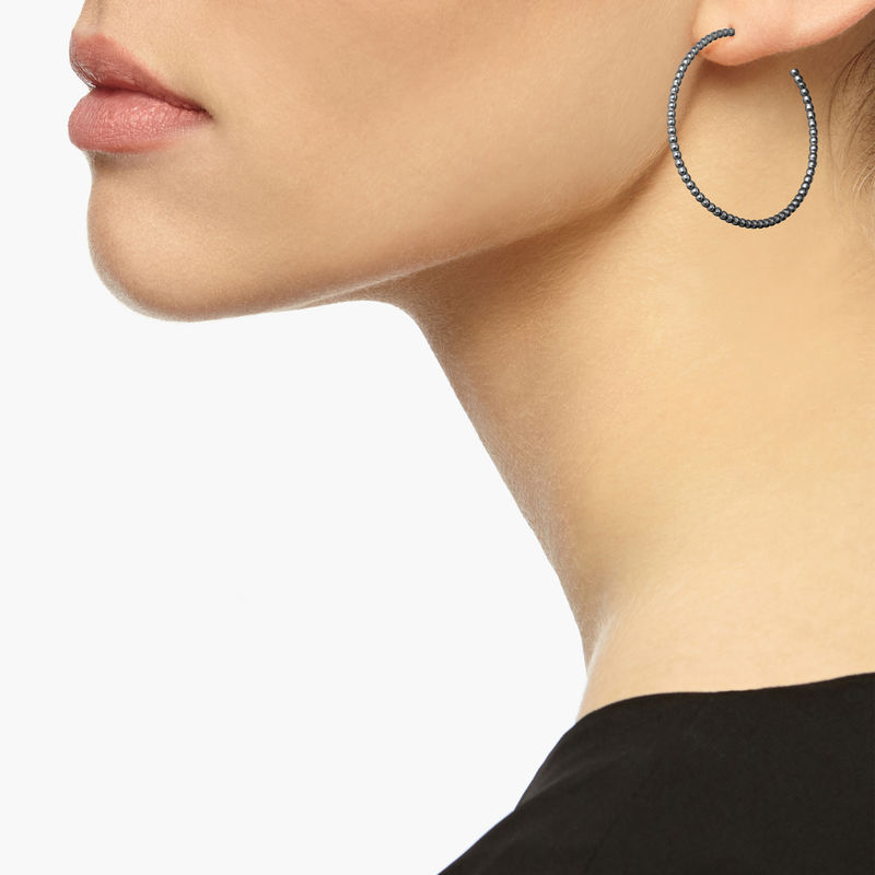 LARGE BALL HOOP EARRINGS - BLACK - product images  of