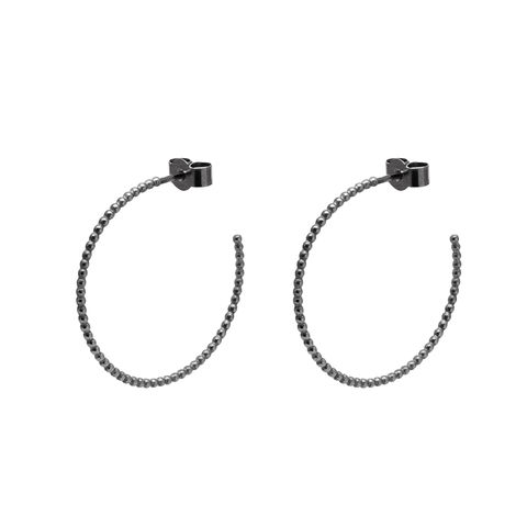 LARGE,BALL,HOOP,EARRINGS,-,BLACK,black hoops, black hoop earrings