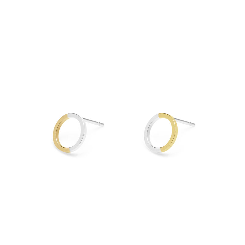 TWO-TONE MINI CIRCLE STUD EARRINGS - YELLOW GOLD - product images  of