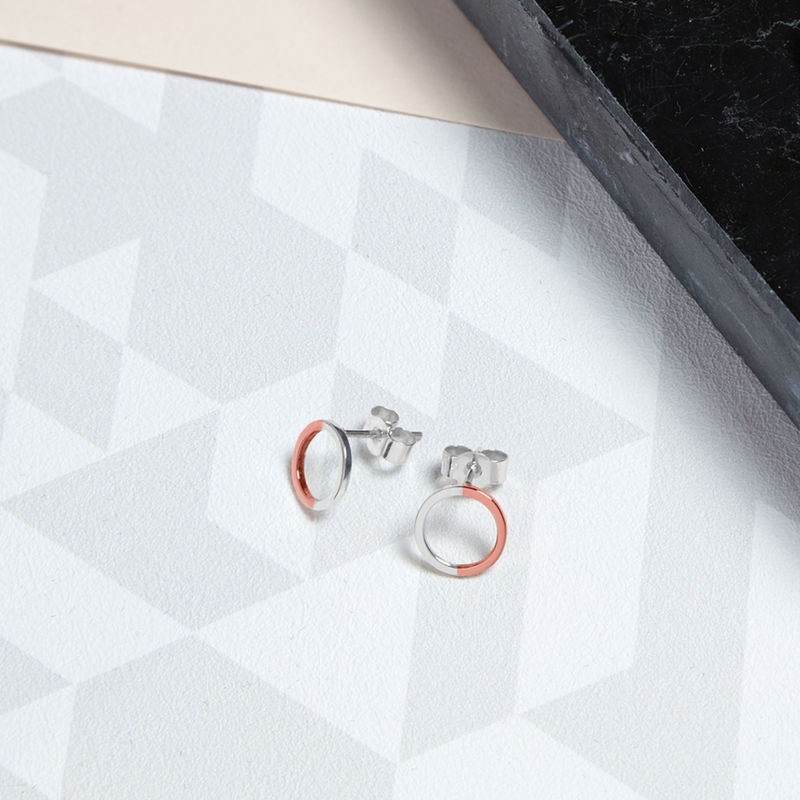 TWO-TONE MINI CIRCLE STUD EARRINGS - ROSE GOLD - product image