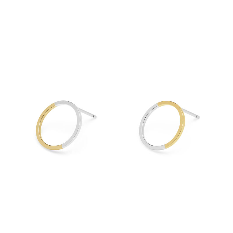 TWO-TONE CIRCLE STUD EARRINGS - YELLOW GOLD - product image