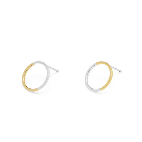 TWO-TONE,CIRCLE,STUD,EARRINGS,-,YELLOW,GOLD