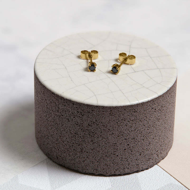 BLACK DIAMOND STUD EARRINGS - 9CT YELLOW GOLD - product image