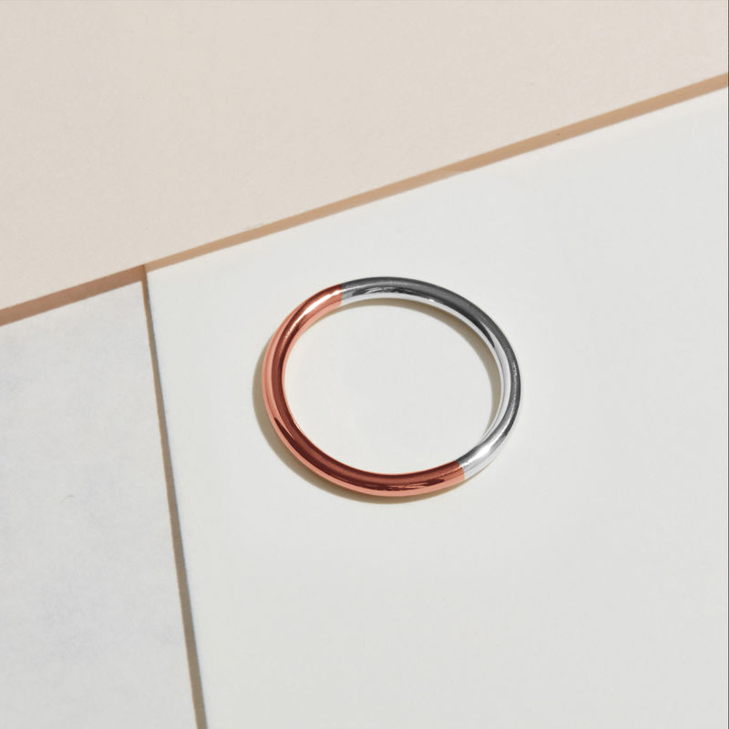 9CT TWO-TONE ROUND BAND - ROSE/WHITE GOLD - product image