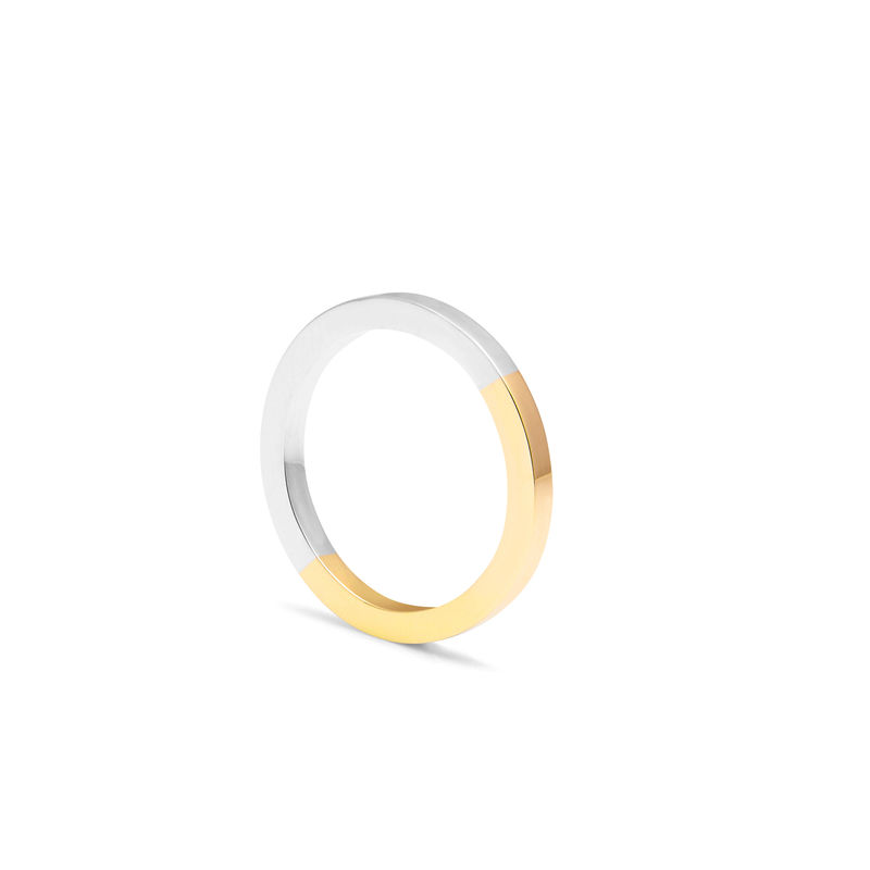 9CT TWO-TONE SQUARE BAND - YELLOW/WHITE GOLD - product image