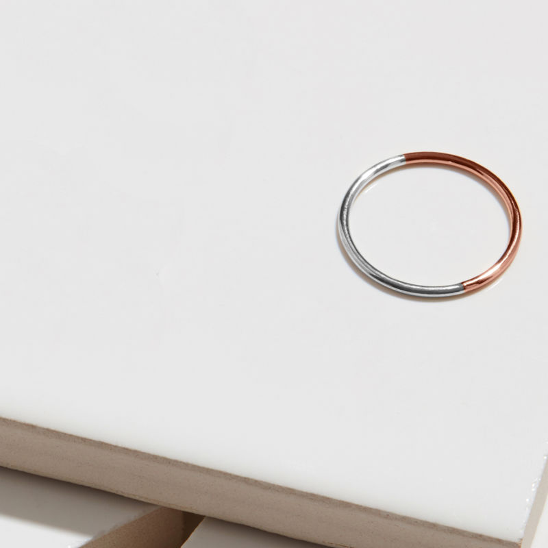 9CT TWO-TONE SKINNY ROUND STACKING RING - ROSE/WHITE GOLD - product image