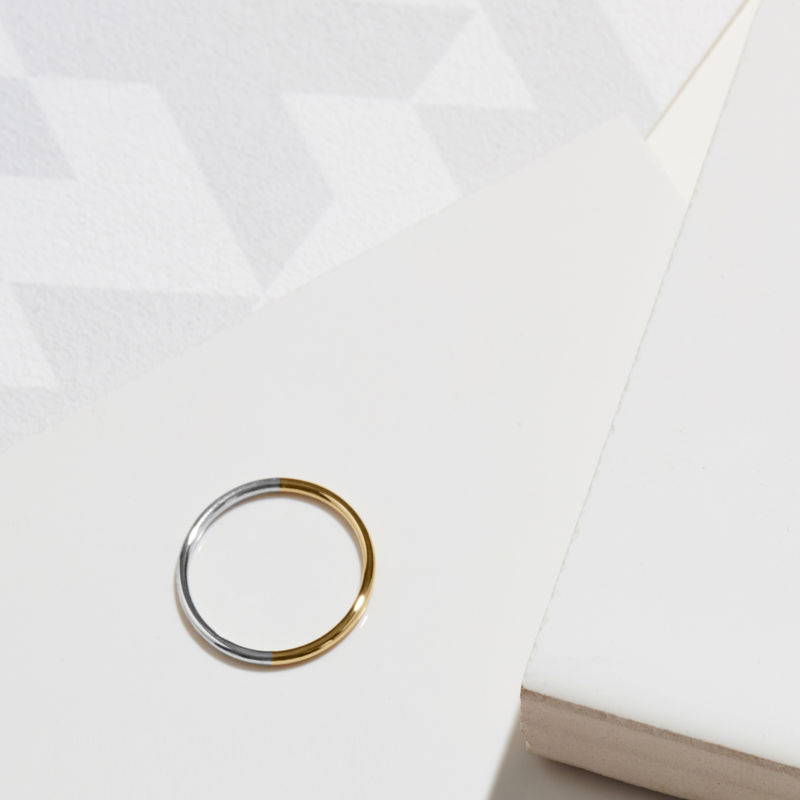 18CT TWO-TONE SKINNY ROUND STACKING RING - YELLOW/WHITE GOLD - product image
