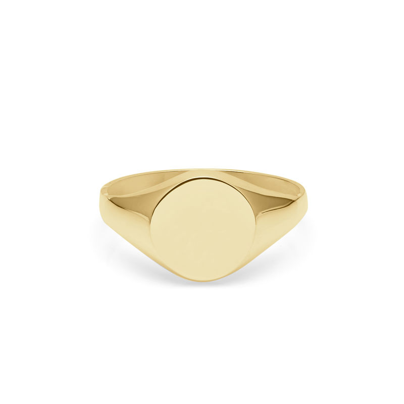 9CT YELLOW GOLD ROUND SIGNET RING - product image