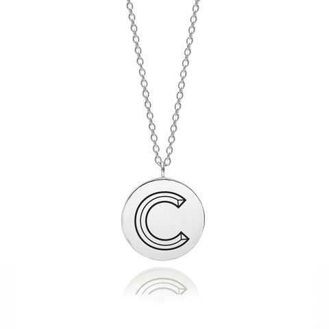 FACETT,INITIAL,C,NECKLACE,-,SILVER