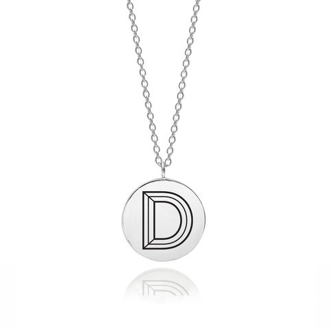 FACETT,INITIAL,D,NECKLACE,-,SILVER,D necklace, Initial necklace, Typography, Facett necklace