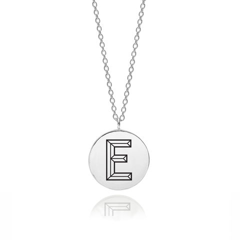 FACETT,INITIAL,E,NECKLACE,-,SILVER