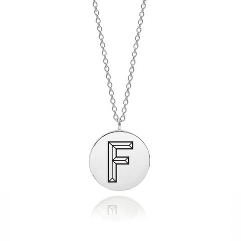 FACETT,INITIAL,F,NECKLACE,-,SILVER