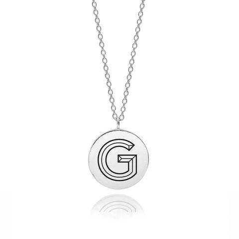 FACETT,INITIAL,G,NECKLACE,-,SILVER