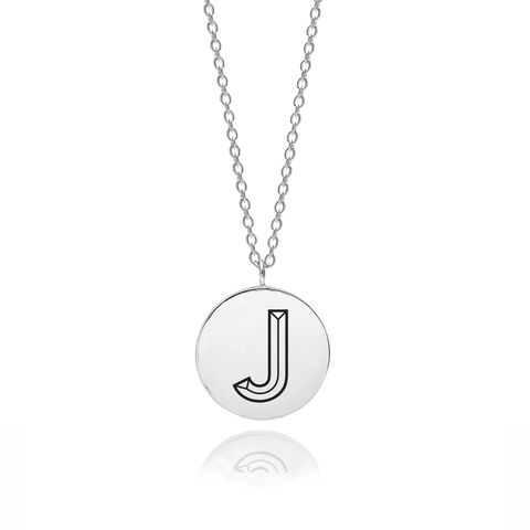 FACETT,INITIAL,J,NECKLACE,-,SILVER