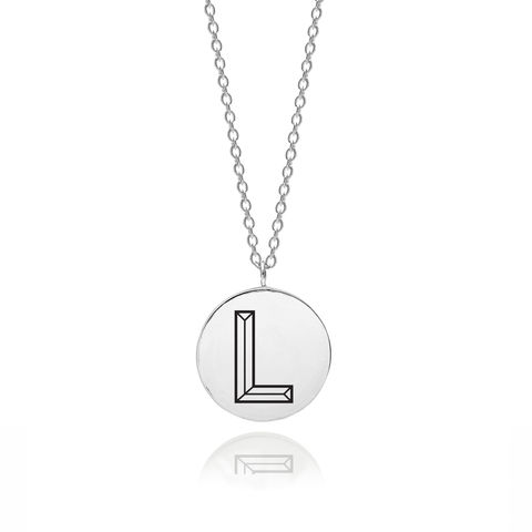 FACETT,INITIAL,L,NECKLACE,-,SILVER