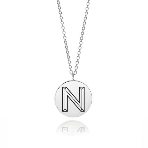 FACETT,INITIAL,N,NECKLACE,-,SILVER