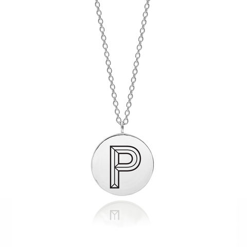 FACETT,INITIAL,P,NECKLACE,-,SILVER