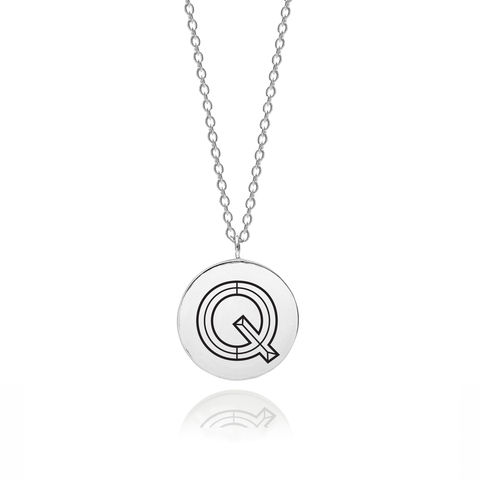 FACETT,INITIAL,Q,NECKLACE,-,SILVER,Q Necklace, Q, Initial Q, Typography