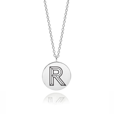 FACETT,INITIAL,R,NECKLACE,-,SILVER