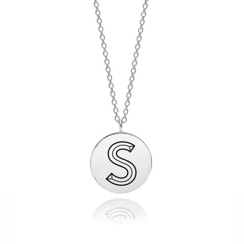 FACETT,INITIAL,S,NECKLACE,-,SILVER,S necklace, Initial necklace, S pendant