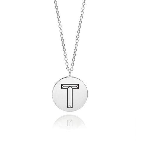 FACETT,INITIAL,T,NECKLACE,-,SILVER,T necklace, Initial T, T pendant, Initial necklace