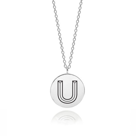 FACETT,INITIAL,U,NECKLACE,-,SILVER,U necklace, U initial