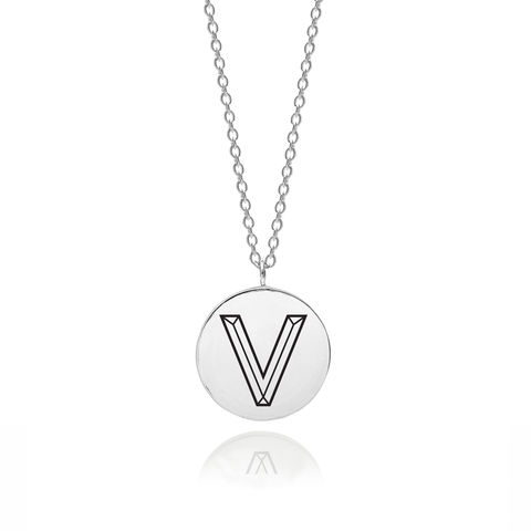 FACETT,INITIAL,V,NECKLACE,-,SILVER,V necklace, V pendant, Initial necklace, V initial necklace, Typography necklace,