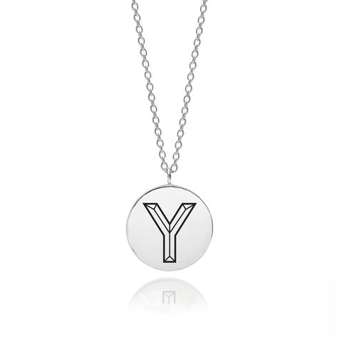 FACETT,INITIAL,Y,NECKLACE,-,SILVER,Y necklace, Y pendant, silver Y necklace, Silver initial necklace
