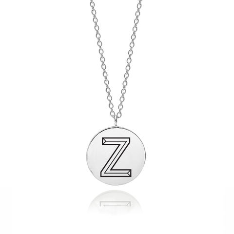 FACETT,INITIAL,Z,NECKLACE,-,SILVER,Z necklace, Z pendant, Z name necklace, Z initial necklace