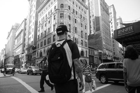Brooklyn,Man,New York, Manhattan, Black and White