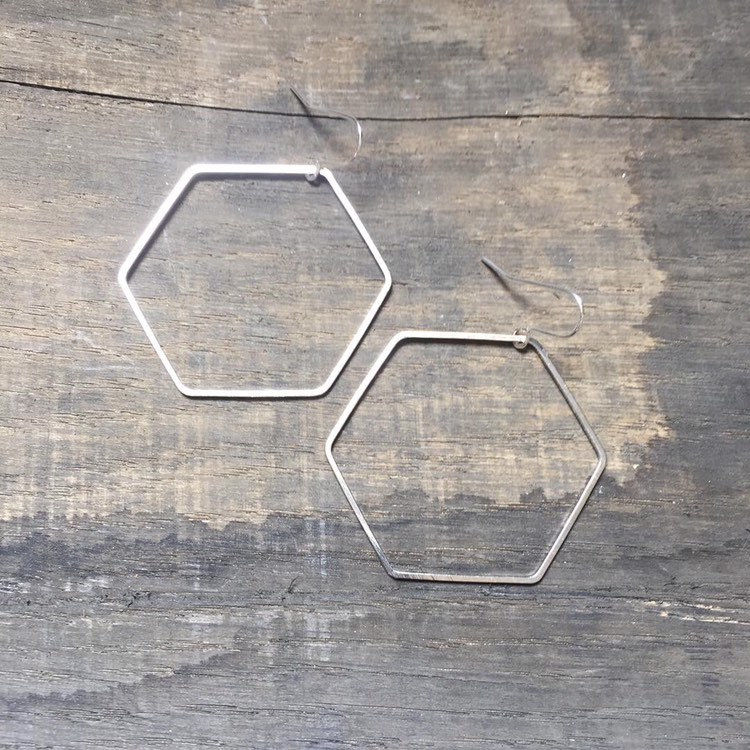 Big Silver Tone Hexagon Hoop Earrings  - product images  of