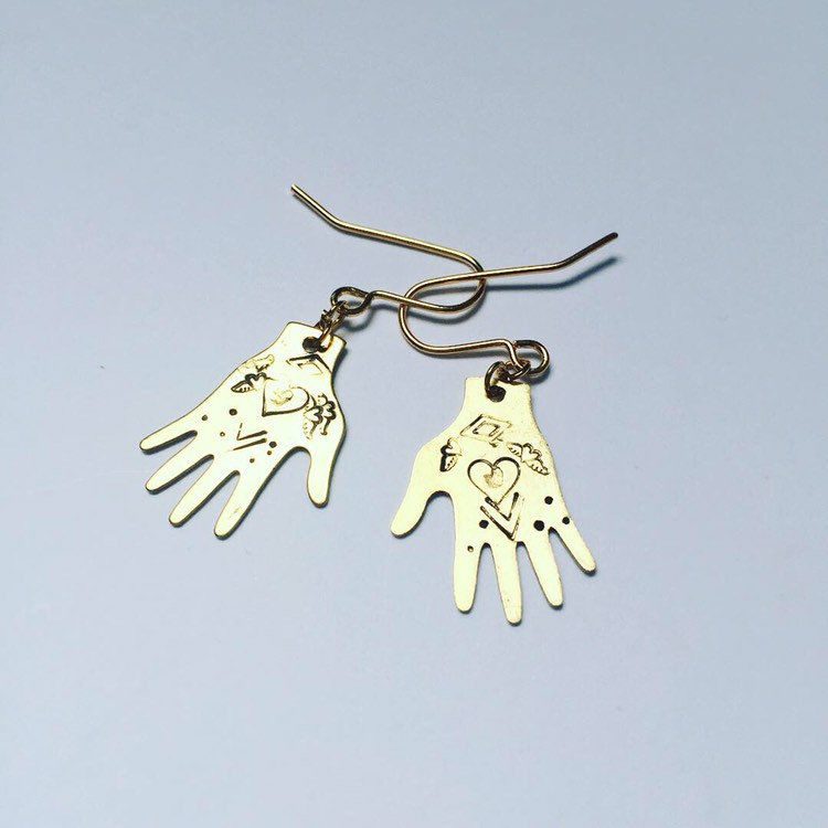 Healing Hands Golden Brass Earrings - product images  of