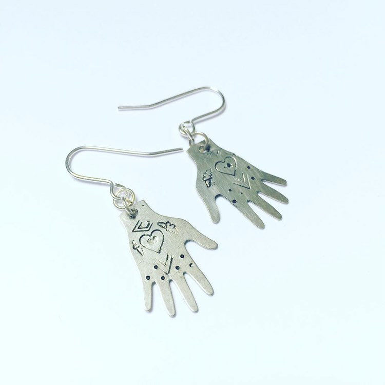 Silver Tone Healing Hands Earrings  - product images  of