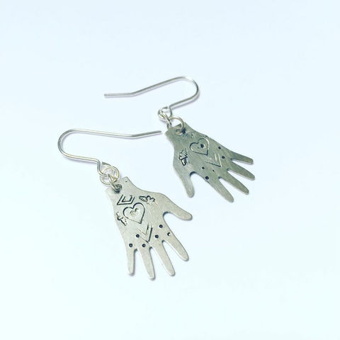 Silver,Tone,Healing,Hands,Earrings,tattoo_earrings,heart_earrings,hand_earrings,silver_earrings,Milagro_earrings,gypsy_earrings,mexican_earrings,hand_shaped,drop_earrings,boho_earrings,unusual_earrings,healing_hands,reiki_healing,Brass