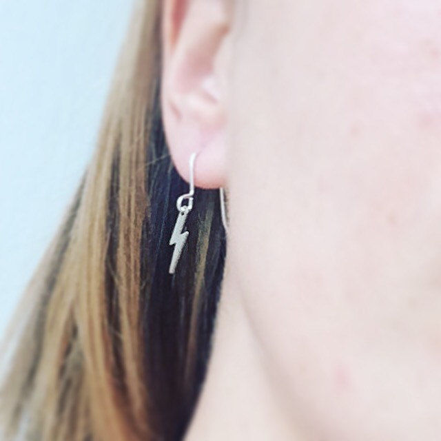 Silver Tone Lightening Bolt Earrings - product images  of