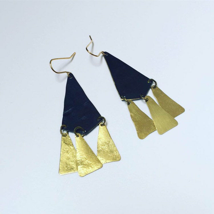 ALCHEMY Earrings in Golden Brass Matte Black  - product images  of