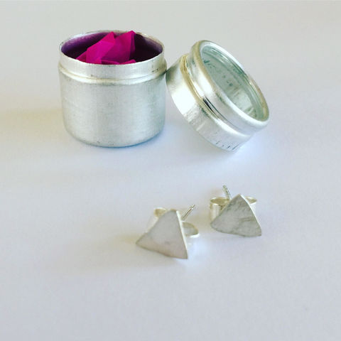 Irregular,Triangle,Studs,in,Sterling,Silver,contemporary_studs_,simple_studs,triangle_studs_,geometric_studs_,modern_studs,silver_studs_,Sterling_silver_stud,hammered_studs,everyday_studs_,short_hair_studs_,Faye_wilson_,boho_studs_,art_studs_