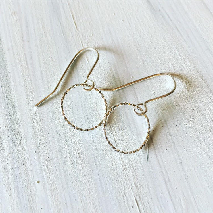 Sterling Silver Diamond Cut Tiny Hoop Earrings  - product images  of