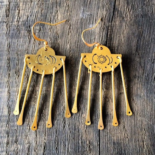 Golden Brass Sun Goddess Chandelier Earrings  - product images  of
