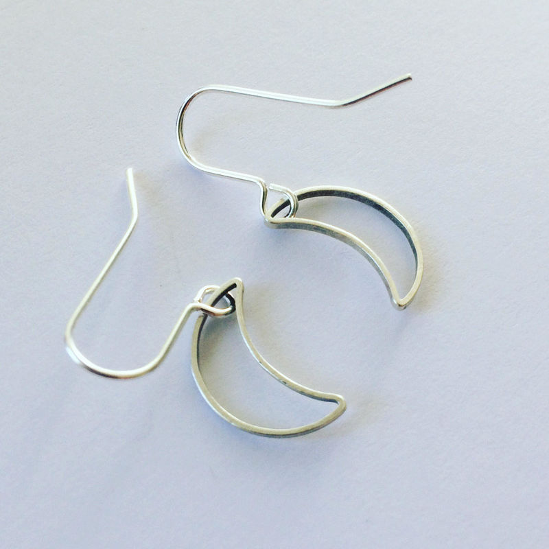 Silver Tone Crescent Moon Earrings  - product images  of
