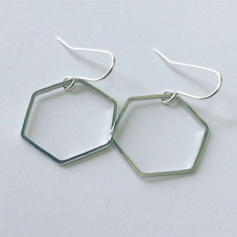 Silver,Tone,Hexagon,Hoop,Earrings,simple_earrings,geometric_earrings,hexagon_hoops,silver_hoops,hoop_earrings,silver_hexagon,hexagon_earrings,minimal_earrings,Boho_earrings,unusual_earrings,drop_earrings,silver_earrings