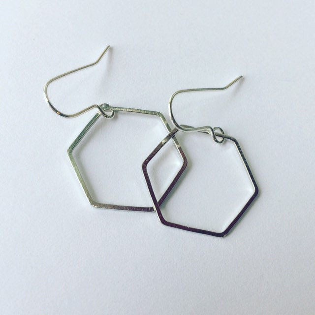 Silver Tone Hexagon Hoop Earrings  - product images  of