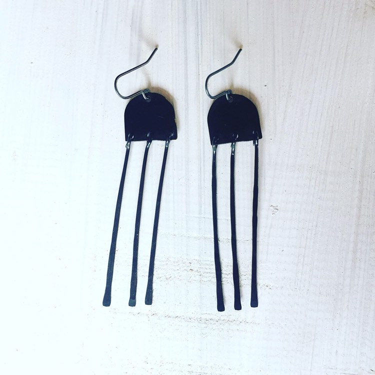 Long Black Statement Chandelier Earrings  - product images  of