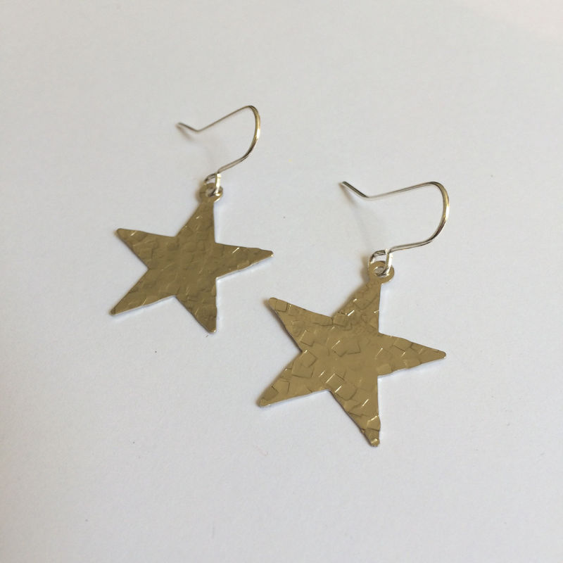 Silver Tone Hammered Star Earrings - product images  of