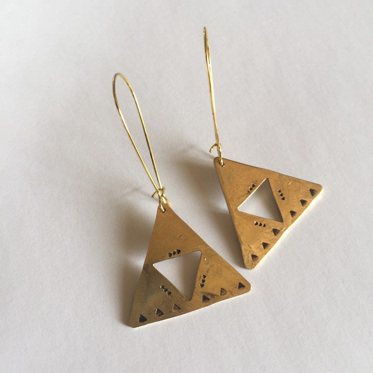 Long Golden Brass Triangle Hammered Earrings  - product images  of