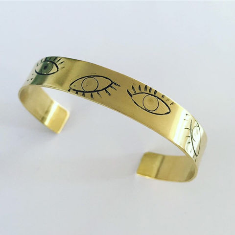 OBSERVE,Cuff,in,Golden,Brass,gold_cuff,brass_cuff,eyes_cuff,eye_cuff,healing_jewellery,individual_jewellery,positivity,love,self_love,spiritual_jewellery